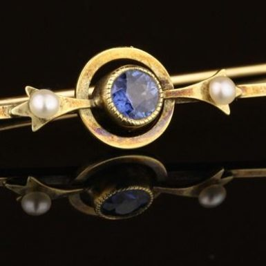14K-Natural-Sapphire-Pearl-Bar-Pin