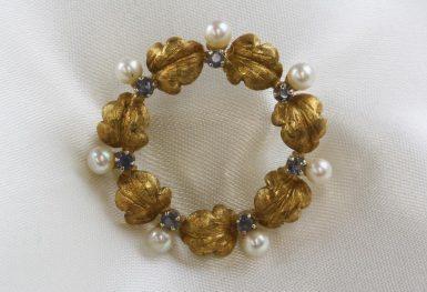 18K -Gold-Sapphire-Pearl-Pin