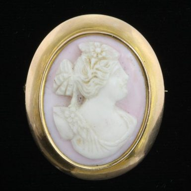 Shell-Cameo-Pin-14K-Gold