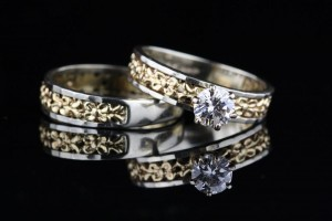 Two Tone Diamond Wedding Set