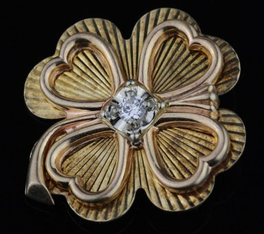 Vintage-Diamond-Clover-Pin