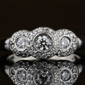 Halo Three Diamond Ring