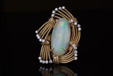 Pre-Owned Austrian Opal & Diamond Brooch