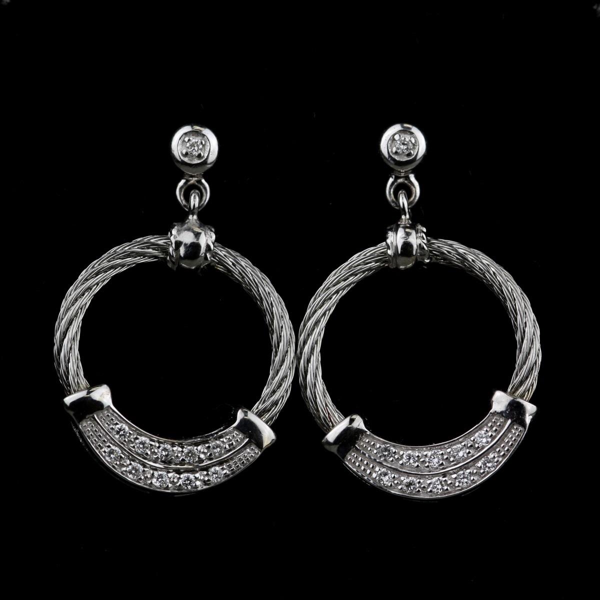 Pre-Owned Charriol 18 Karat White Gold, Diamond Earrings