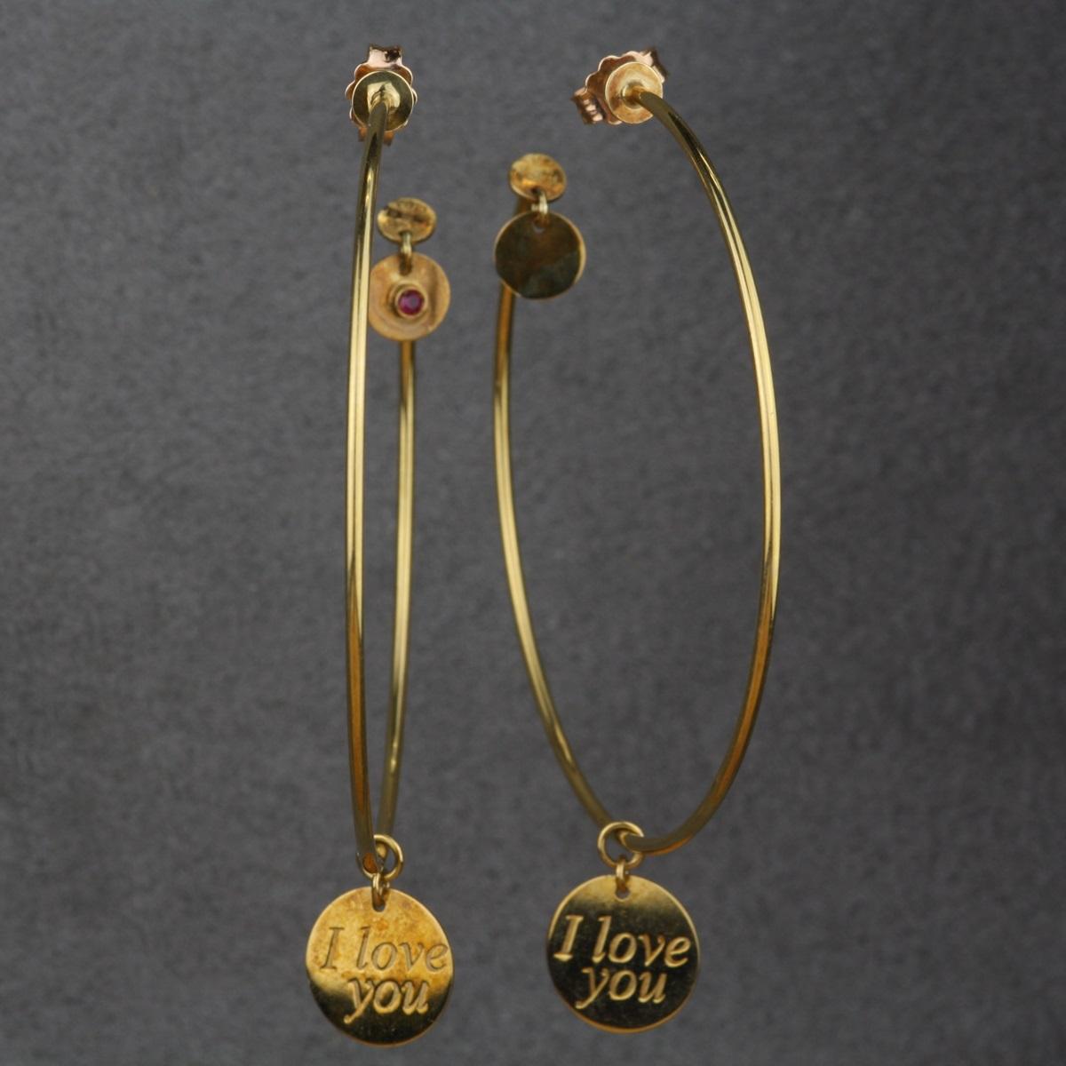 Pre Owned Roberto Coin Dangle Hoop Earrings I Love You