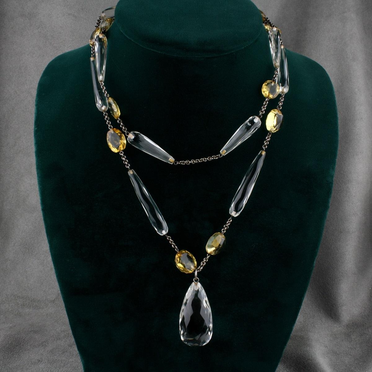 Vintage Sterling Silver Rock Crystal and Citrine Necklace