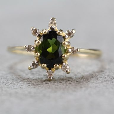 pre-owned-14k-green-tourmaline-and-diamond-ring