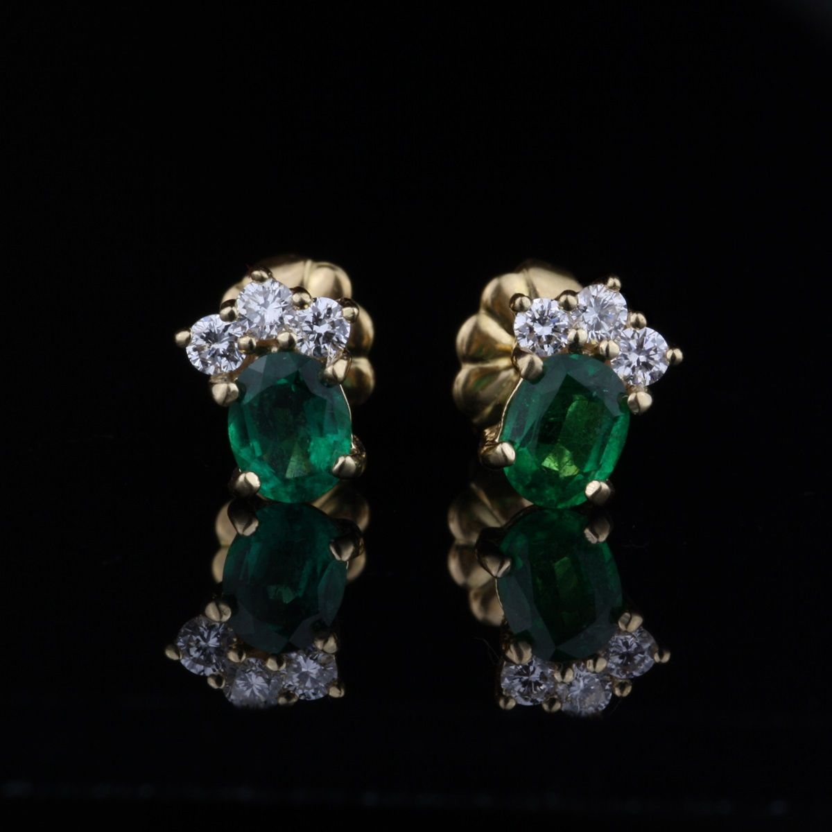 Pre Owned Emerald And Diamond Stud Earrings