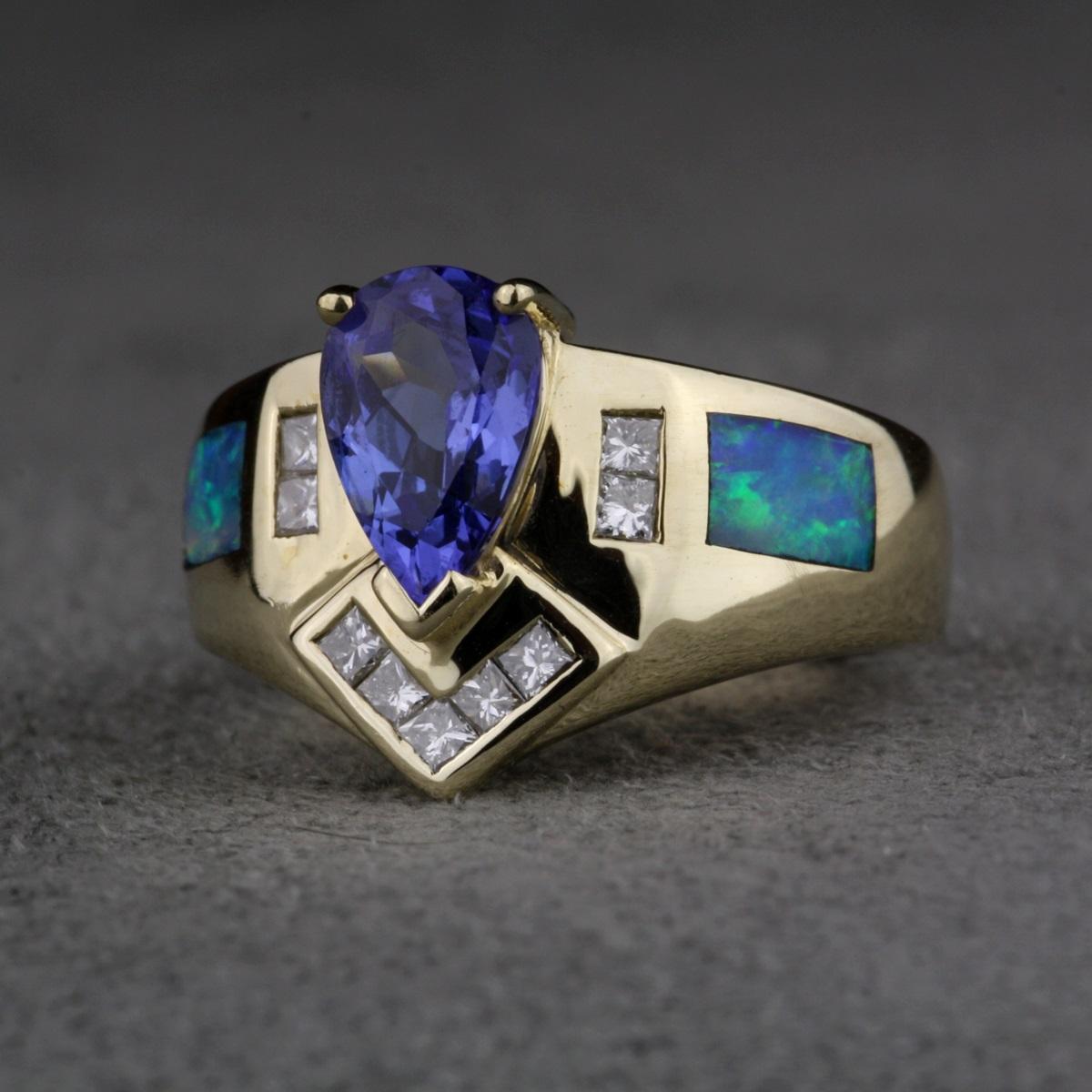 Tanzanite Diamond Ring In Silver