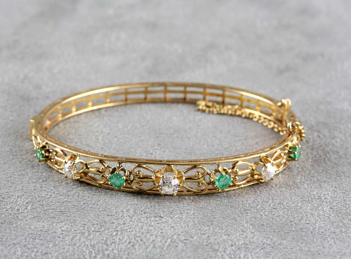 vintage and emerald bangle bracelet
