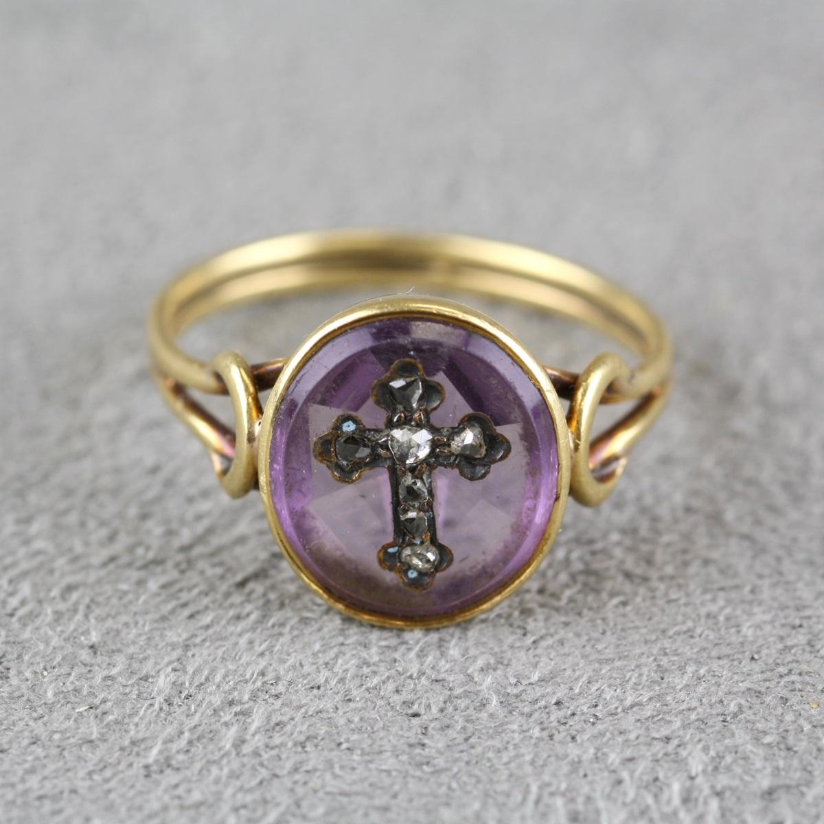 Antique Amethyst And Diamond Intaglio Ring