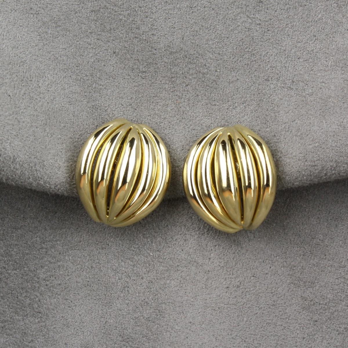 PreOwned Italian 18 Karat Yellow Gold Clip On Earrings