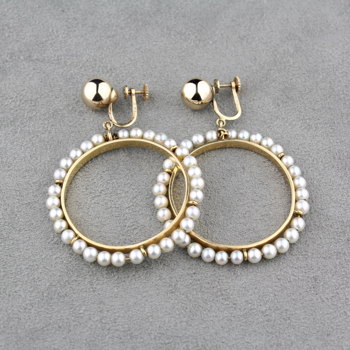 Vintage Akoya Pearl Hoop Earrings