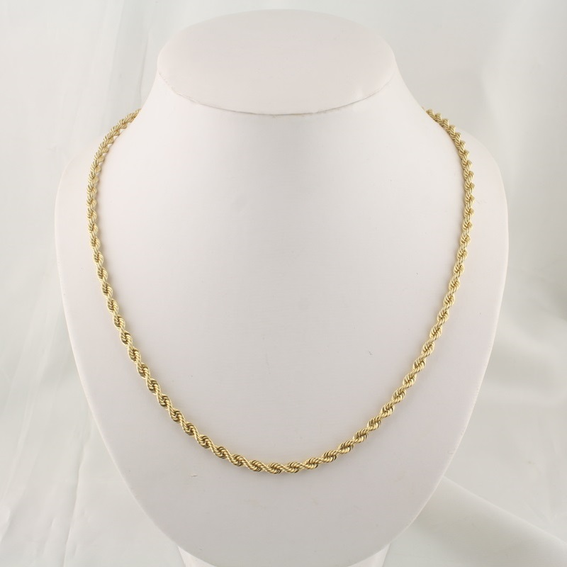 pre owned 14 karat yellow gold rope chain