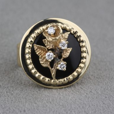 14k-pre-owned-diamond-and-onyx-flower-ring