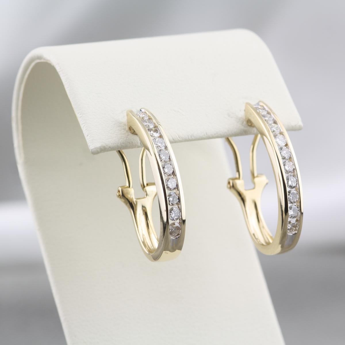 Pre Owned 14k Diamond Hoop Earrings 1