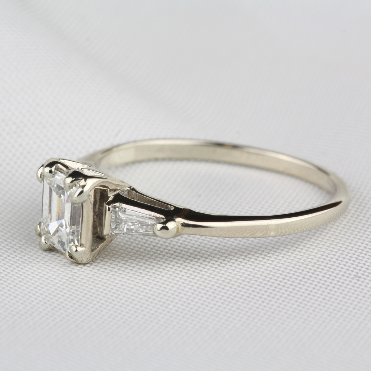 Pre Owned Emerald Cut Diamond Engagement Ring