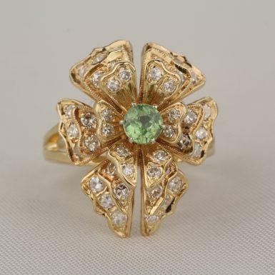 Vintage-Demantoid-Garnet-Diamond-Dinner-Ring