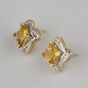 Pre-Owned Citrine & Diamond Earrings
