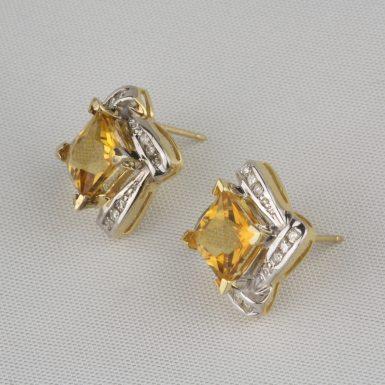 Pre-Owned-Citrine-&-Diamond-Earrings