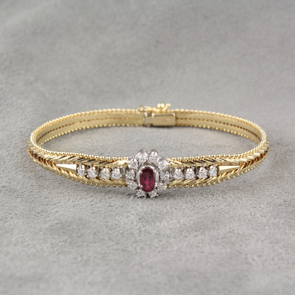 Pre Owned Ruby And Diamond Bracelet
