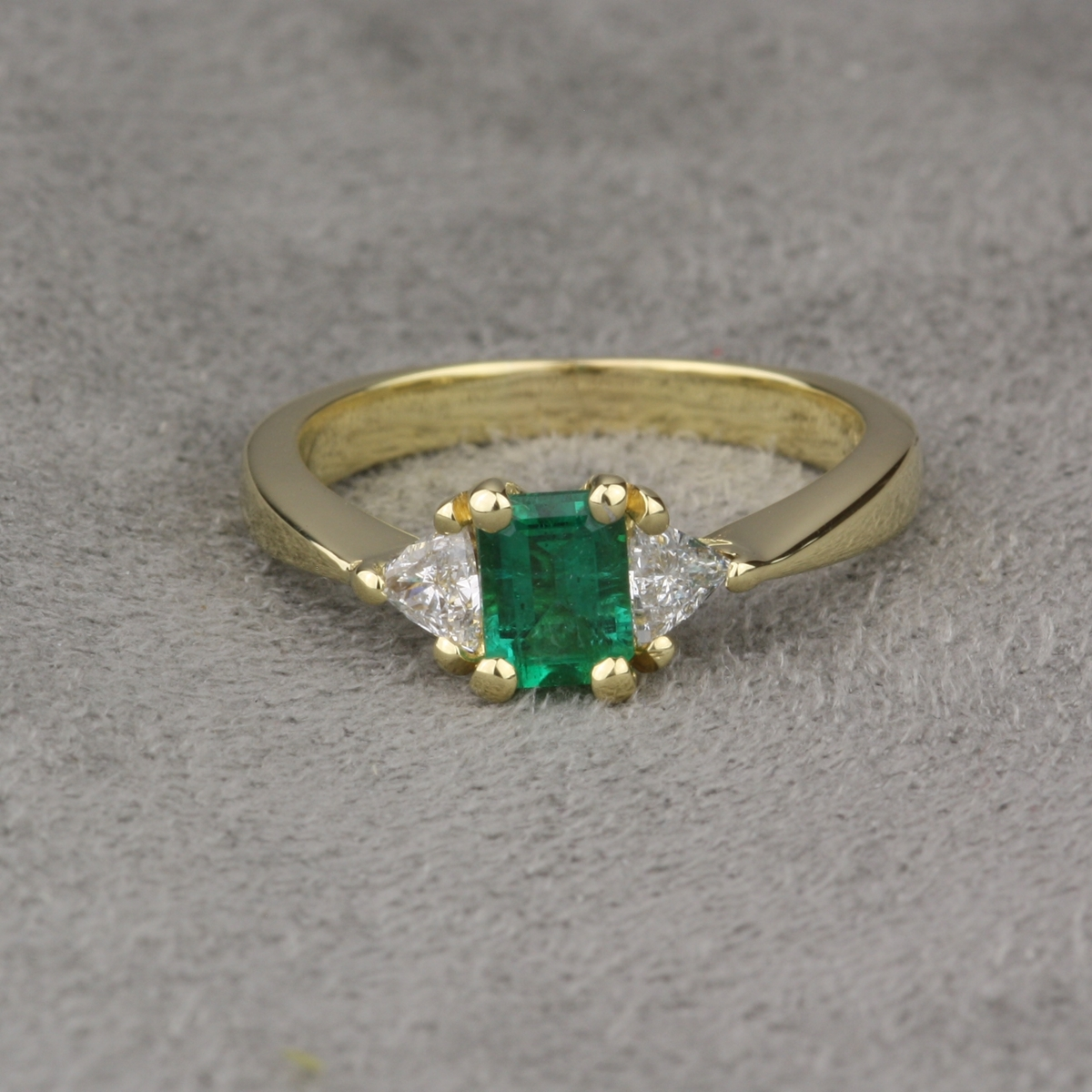 Pre Owned Emerald and Diamond Engagement Ring