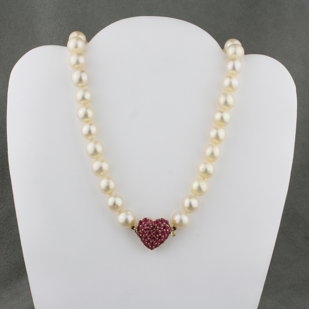 Baroque Pearl Strand With Pave Ruby Clasp