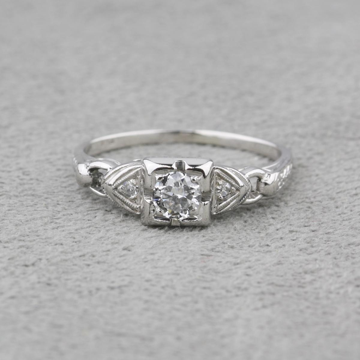 vintage diamond and platinum engagement ring. Black Bedroom Furniture Sets. Home Design Ideas