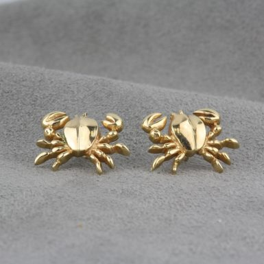 Pre-Owned-14-Karat-Yellow-Gold-Custom-Marine-Crab-Earrings