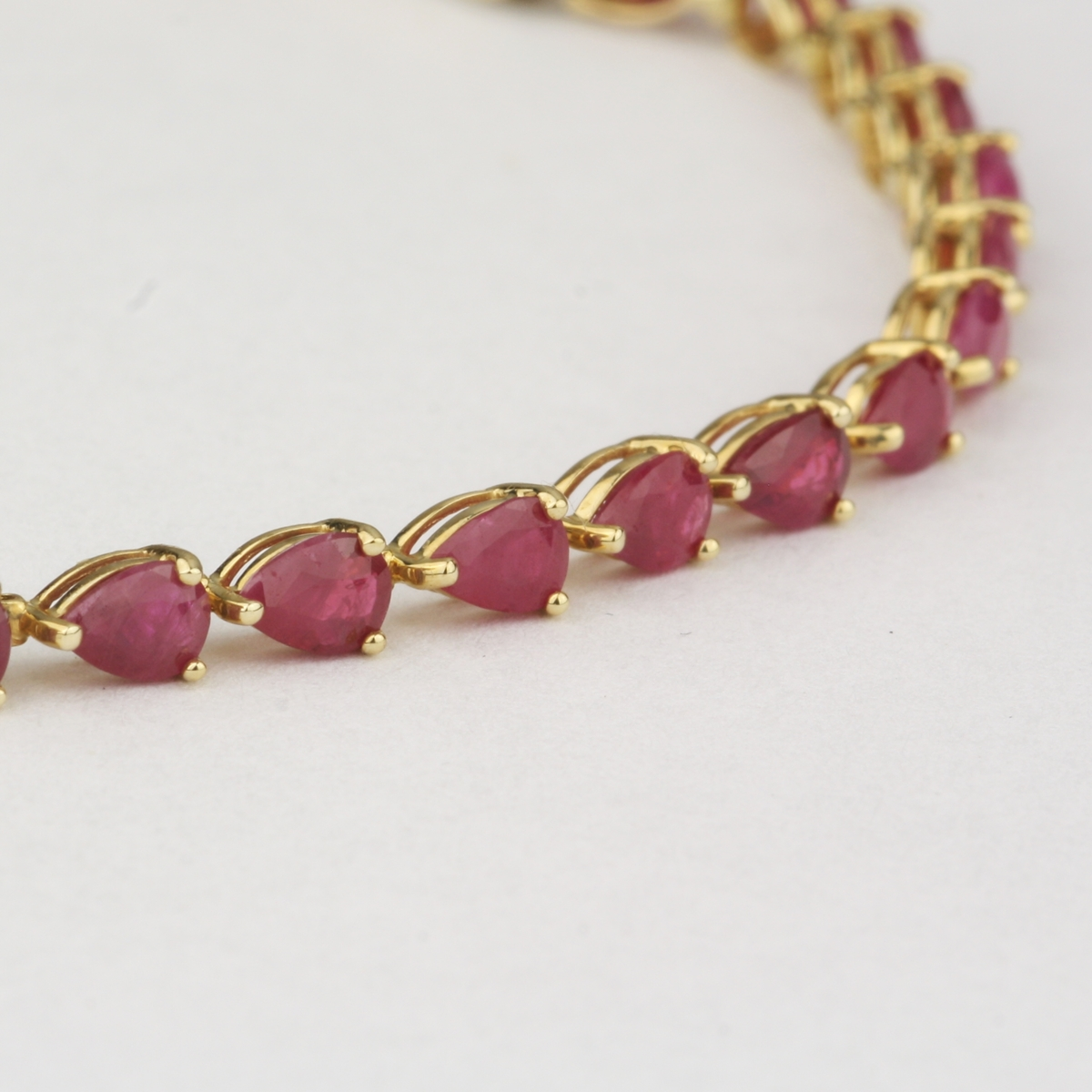 preowned 14 karat yellow gold ruby line bracelet