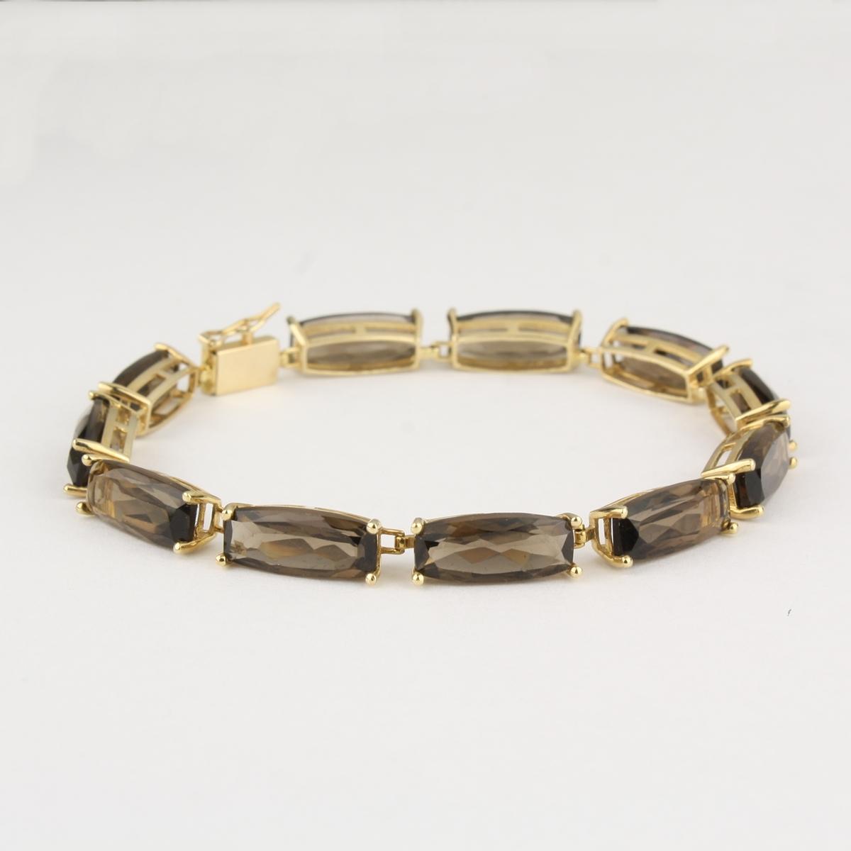 pre owned 14 karat yellow gold smokey quartz bracelet