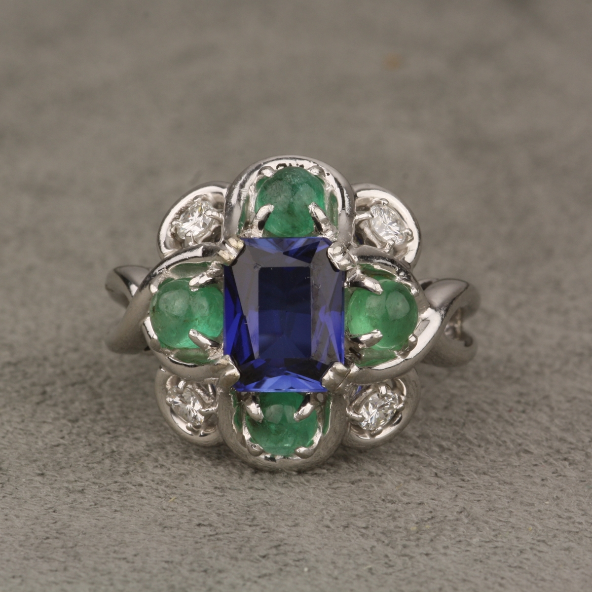 emerald rings differences between the real and synthetic. Pre-Owned-Platinum-Synthetic-Sapphire-Emerald-And-Diamond- Emerald Rings Differences Between The Real And Synthetic