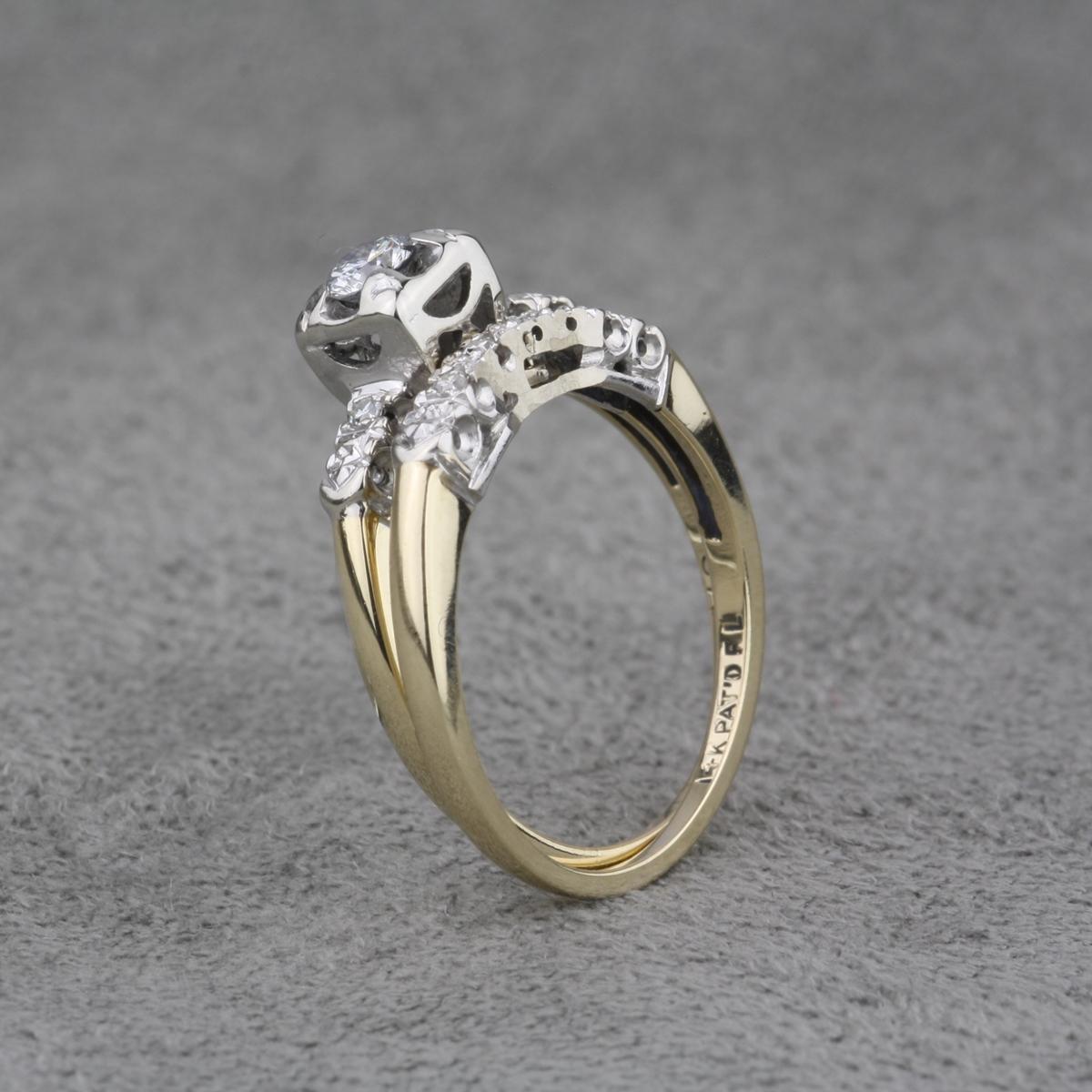 Vintage 14 Karat White And Yellow Gold Diamond Engagement Ring Set