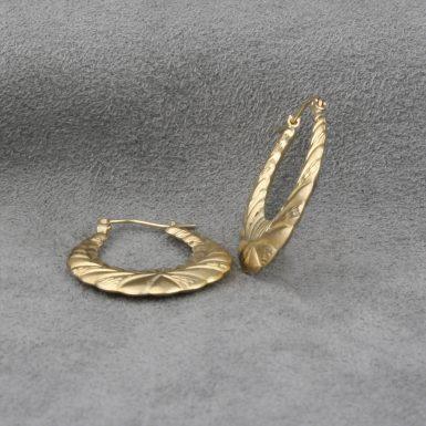 Pre-Owned-14-Karat-Yellow-Gold-Wreath-Hoop-Earrings