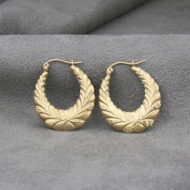 Pre-Owned-14-Karat-Yellow-Gold-Wreath-Hoop-Earrings