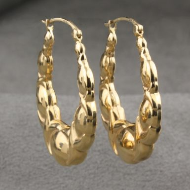 Pre-Owned-14-Karat-Yellow-Gold-Hoop-Earrings