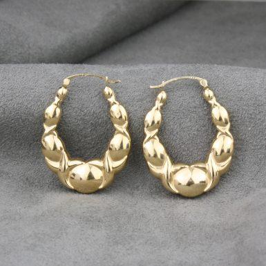 Pre-Owned-14-Karat-Yellow-Gold-Hoop-Earrings