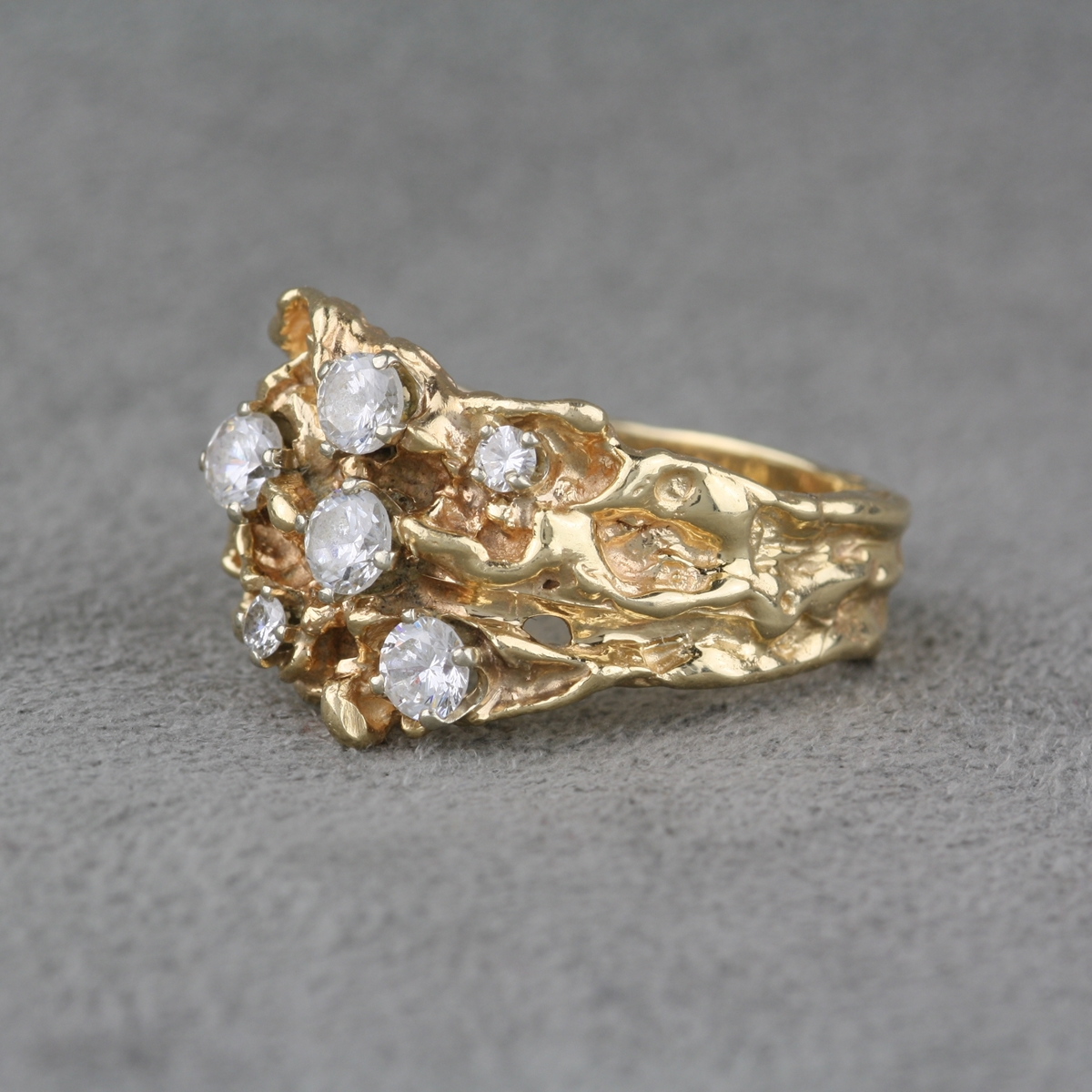 pre owned 14 karat and cubic zirconia nugget ring