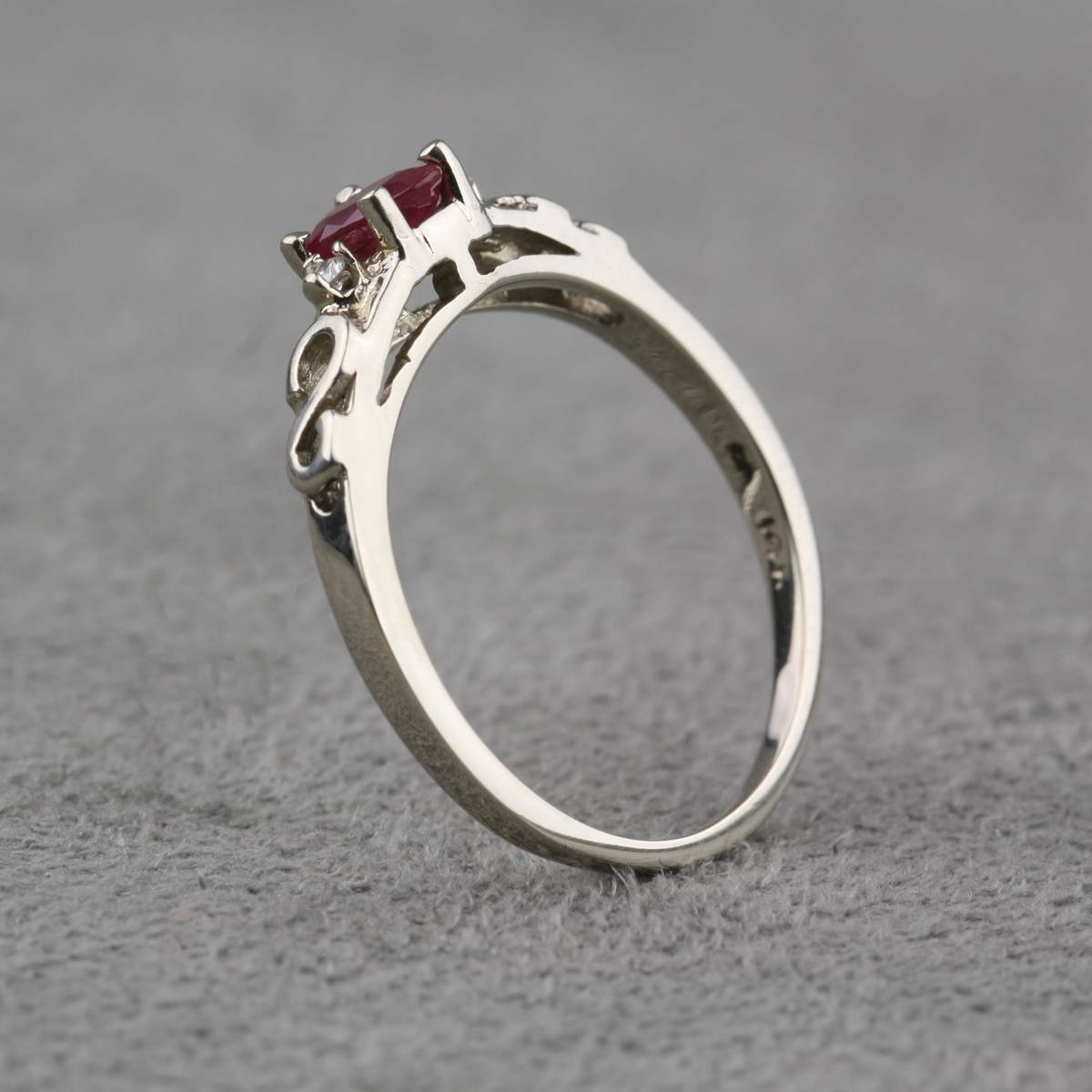 Pre Owned 14 Karat White Gold Ruby and Diamond Ring