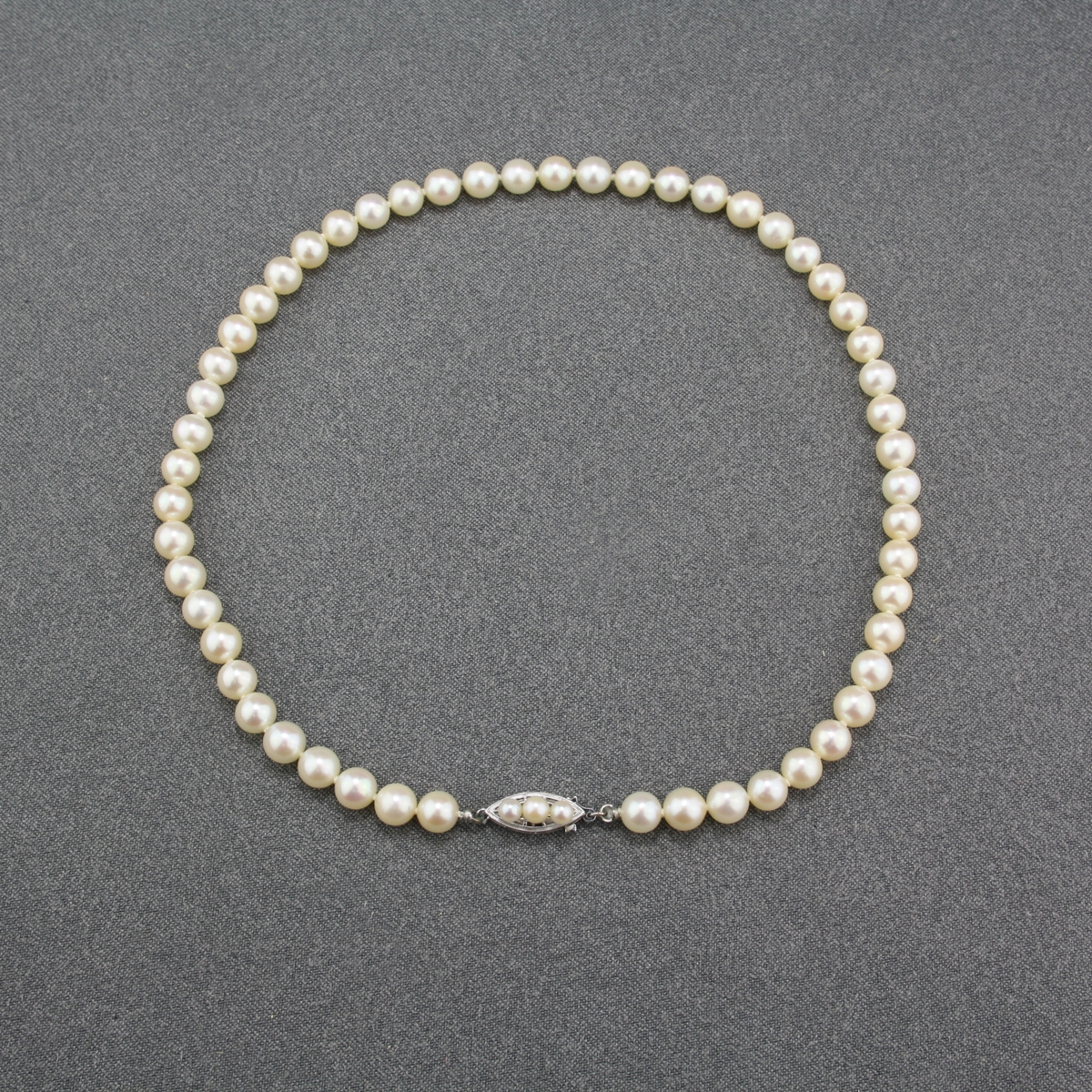 Pre Owned Akoya Pearl Strand White Gold Clasp