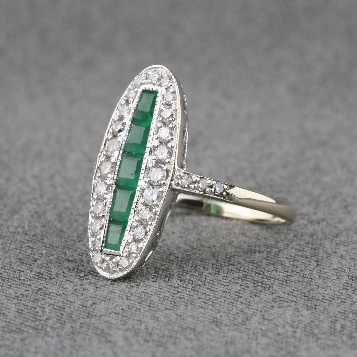 pre owned 14 karat two tone gold emerald ring