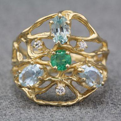 Pre-Owned-14-Karat-Yellow-Gold-Multi-Gemstone-Ring