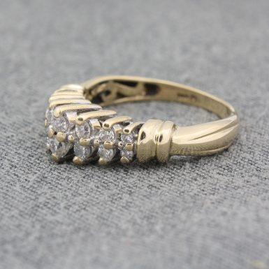 Pre-Owned 14 Karat Yellow Gold Graduated Diamond Waterfall Ring