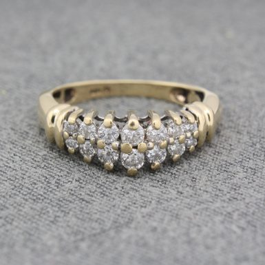 Pre-Owned 14 Karat Yellow Gold Graduated Diamond Waterfall Ring
