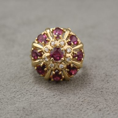 Vintage 14 Karat Yellow Gold Ruby & Diamond Cluster Ring