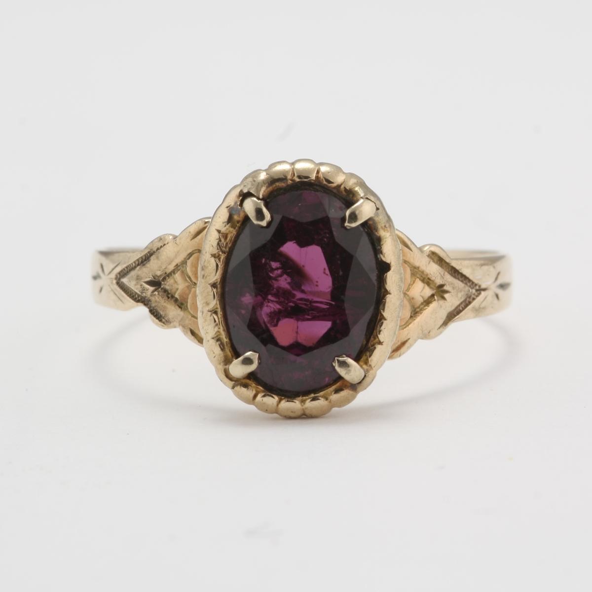 pre owned antique 10 karat gold rhodolite garnet ring
