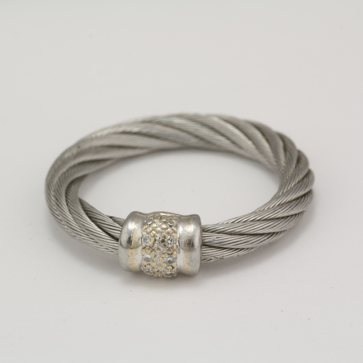 Pre-Owned 18 Karat White Gold Cable Steel Charriol Diamond Ring