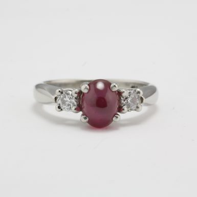 Pre-Owned Vintage Platinum Star Ruby Diamond Ring