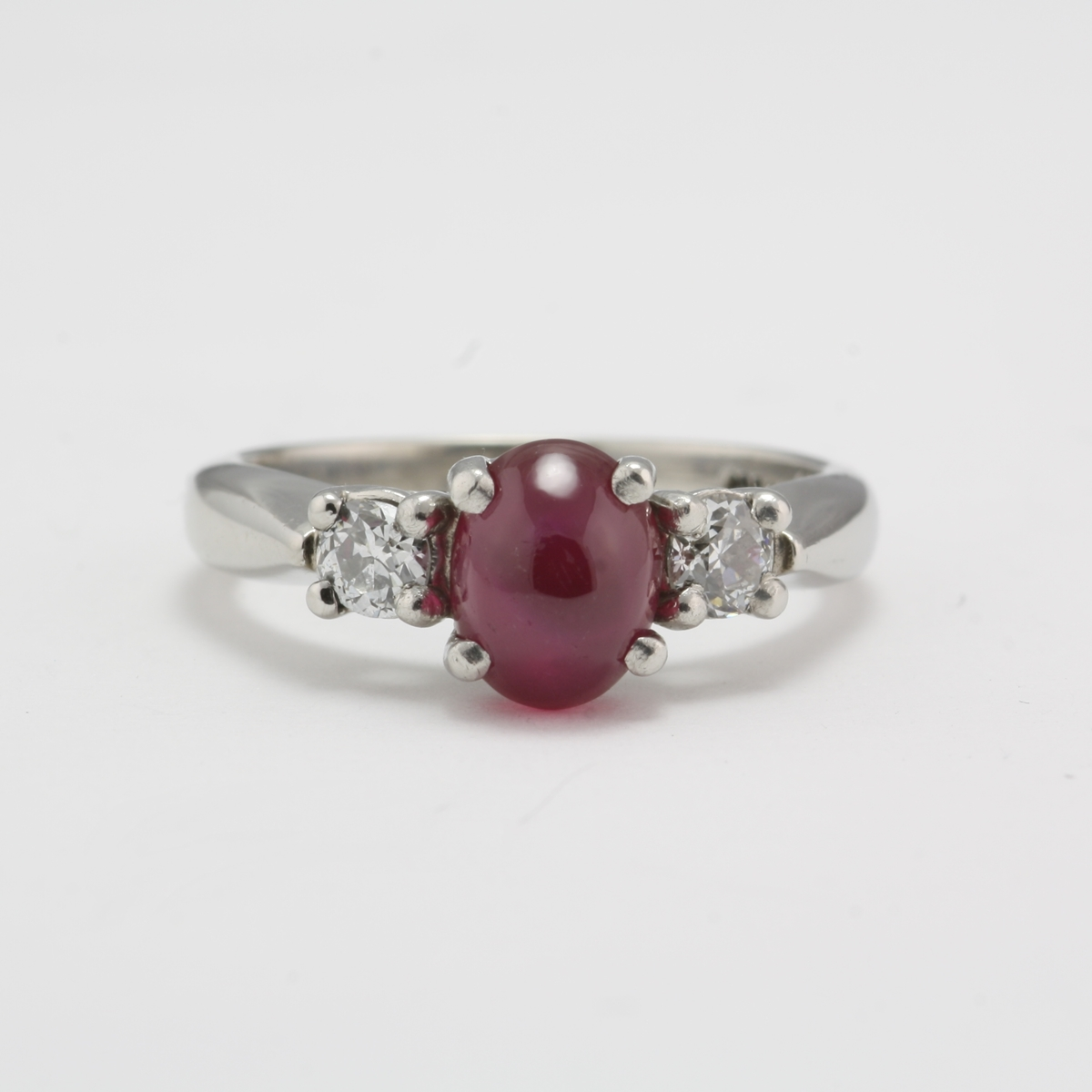 PreOwned Vintage Platinum Star Ruby Diamond Ring