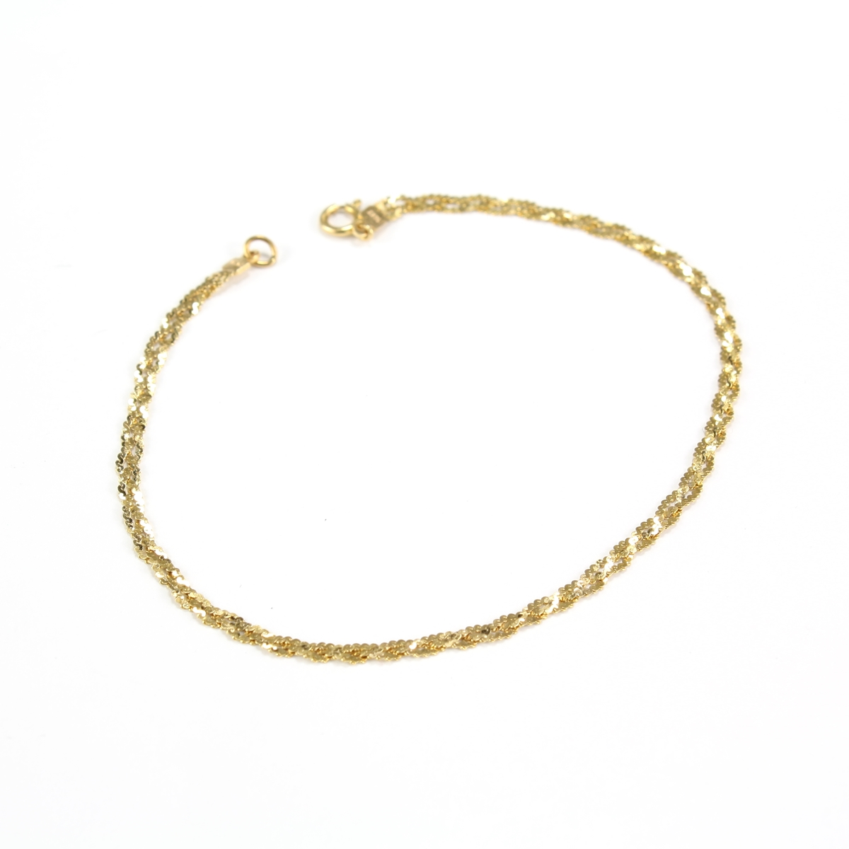 pre owned 14 karat cut yellow gold braided